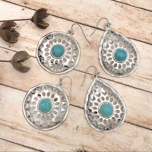 🌼3/$30🌼 Turquoise Dot Cut-Out Dangle Earrings